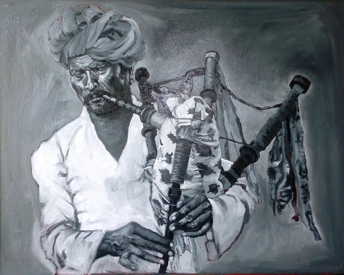 Rajasthani bagpiper Music by Sreenivasa Ram Makineedi, Expressionism Painting, Oil on Canvas, Green color
