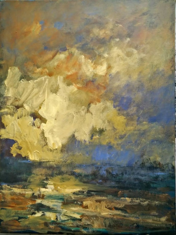 UNTITLED by Zargar Zahoor, Impressionism Painting, Acrylic on Canvas, Beige color
