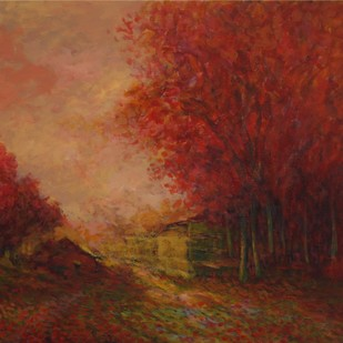 My Village Home by Zargar Zahoor, Impressionism Painting, Acrylic on Canvas, Brown color