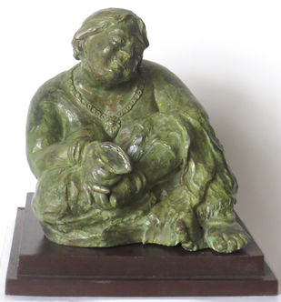 Bidhur Sundari by Debabrata De, Art Deco Sculpture | 3D, Bronze, Green color