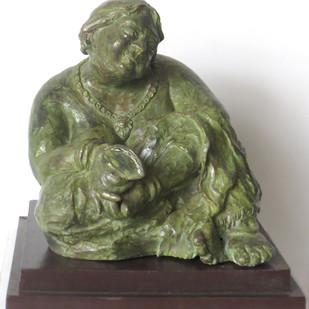Bidhur Sundari by Debabrata De, Art Deco Sculpture   3D, Bronze, Green color