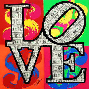 LOVE MY MONEY ( Real Dollar Art) by Sanuj Birla, Pop Art Painting, Acrylic on Canvas, Brown color