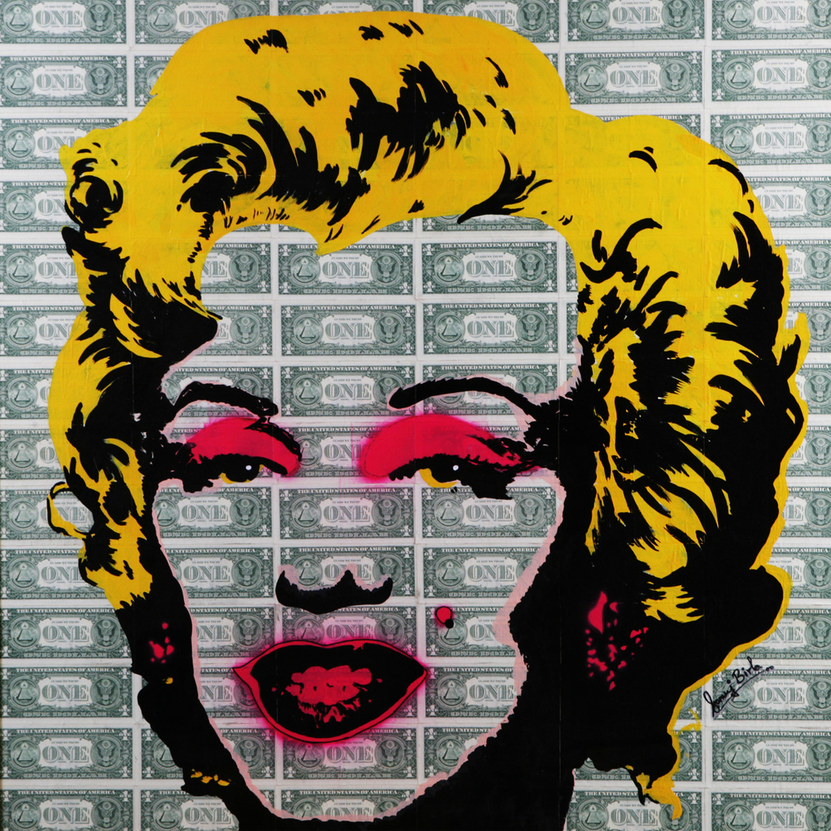 MILLION DOLLAR MONROE ( Real Dollar Art) by Sanuj Birla, Pop Art Painting, Acrylic on Canvas, Gray color