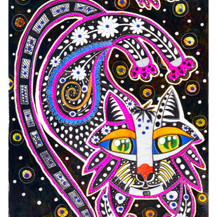 CAT-AT-TEASE by Nalini Misra Tyabji, Decorative Painting, Ink on Paper,