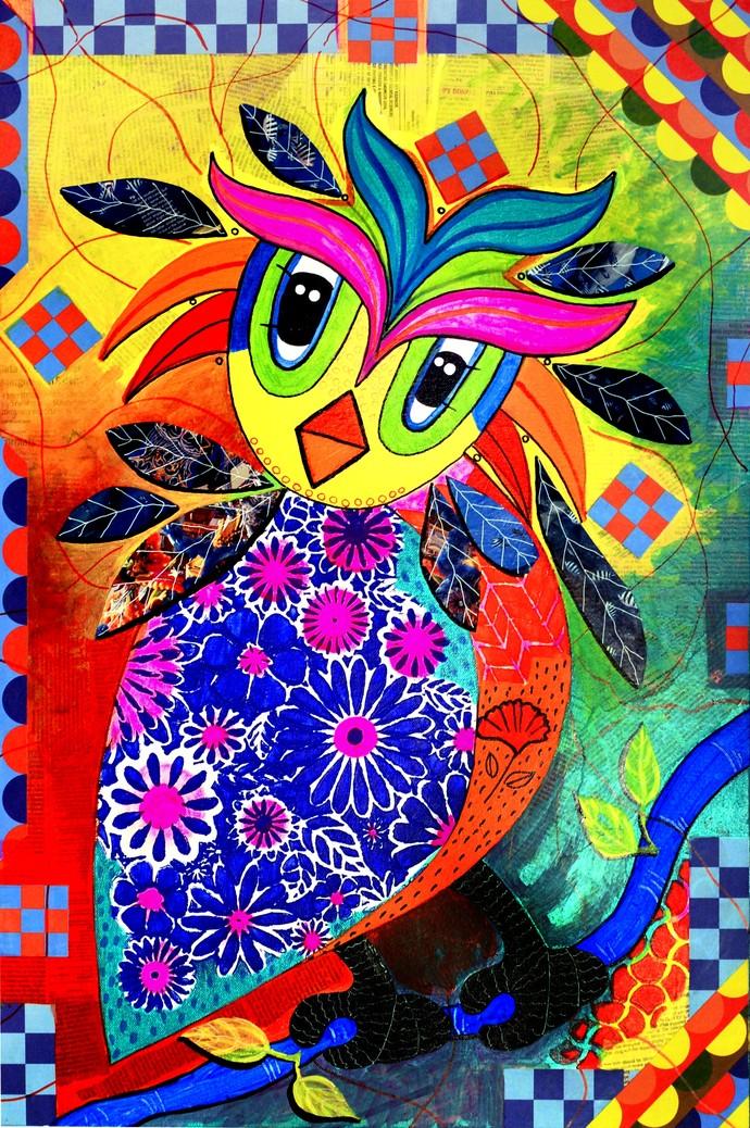 MIRROR MIRROR ON THE WALL by Nalini Misra Tyabji, Fantasy Painting, Mixed Media on Canvas, White color