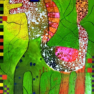 HERE COMES THE SUN by Nalini Misra Tyabji, Fantasy Painting, Mixed Media on Canvas, Green color