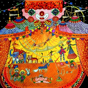 THE CIRCUS WITHIN by Nalini Misra Tyabji, Fantasy Painting, Mixed Media on Paper, Brown color