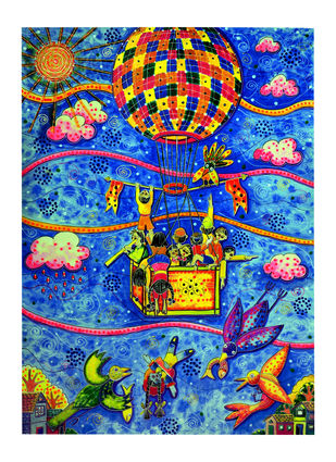 AROUND THE WORLD IN 80 DAYS by Nalini Misra Tyabji, Fantasy Painting, Mixed Media on Paper, Blue color
