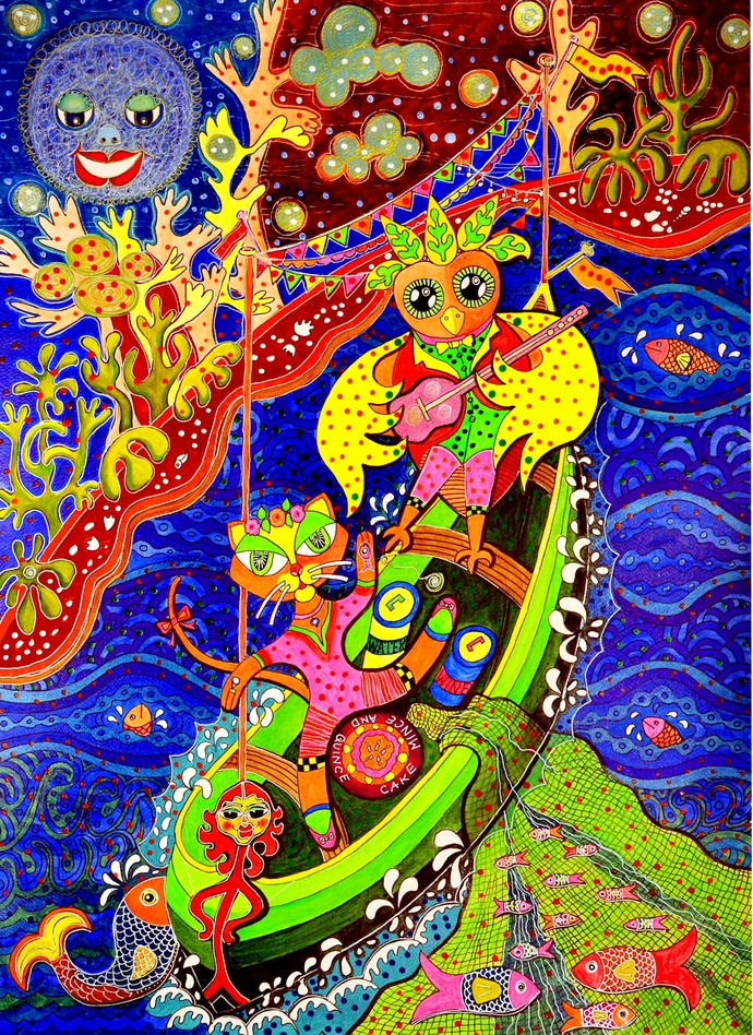THE OWL AND THE PUSSYCAT by Nalini Misra Tyabji, Fantasy Painting, Mixed Media on Paper, Brown color