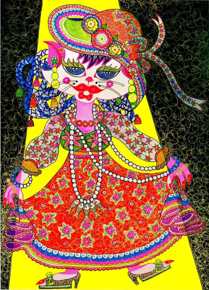 PUSS IN DRESS by Nalini Misra Tyabji, Fantasy Painting, Mixed Media on Paper, Gray color