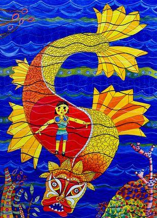 PINOCCHIO by Nalini Misra Tyabji, Fantasy Painting, Mixed Media on Paper, Blue color