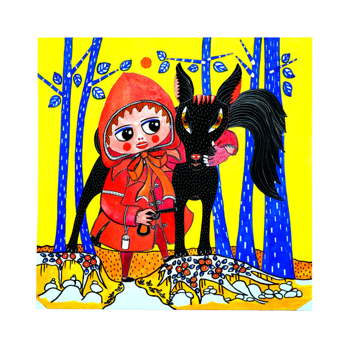 RED RIDING HOOD by Nalini Misra Tyabji, Fantasy Painting, Mixed Media on Paper, Yellow color