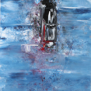 The Lighthouse by Bharat Thakur, Expressionism Painting, Acrylic on Canvas, Blue color