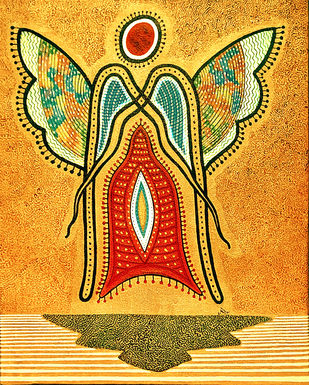 THE UNKNOWN ANGEL by Pradip Sarkar, Geometrical Painting, Acrylic on Canvas, Orange color