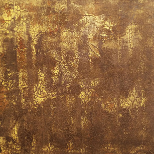Yellow Trees by Saravana Kumar, Abstract Painting, Acrylic on Canvas, Brown color