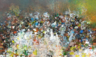 A glimpse of the village by M Singh, Abstract Painting, Acrylic on Canvas, Brown color