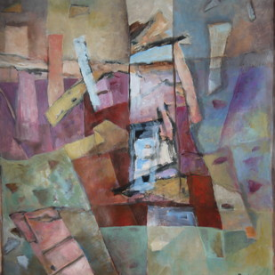 Untitled by Pradip Chaudhuri, Geometrical Painting, Acrylic on Paper, Brown color