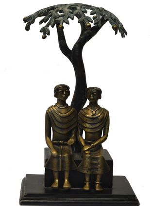 Conversation by N.S. Rana, Art Deco Sculpture | 3D, Bronze, White color