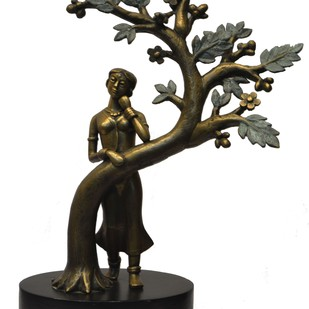 Waiting by N.S. Rana, Art Deco Sculpture | 3D, Bronze, White color