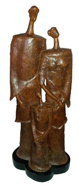 Family by Chandan Roy, Art Deco Sculpture | 3D, Bronze, Brown color