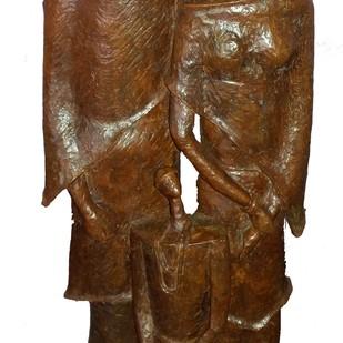 Family by Chandan Roy, Art Deco Sculpture | 3D, Bronze, Brown color