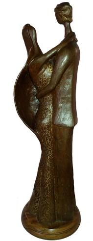 Couple by Chandan Roy, Art Deco Sculpture | 3D, Bronze, Brown color