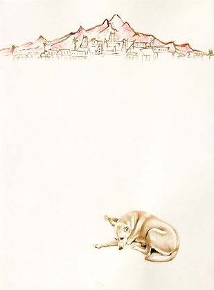 Devotees by V Ramesh, Conceptual Painting, Watercolor on Paper, Beige color