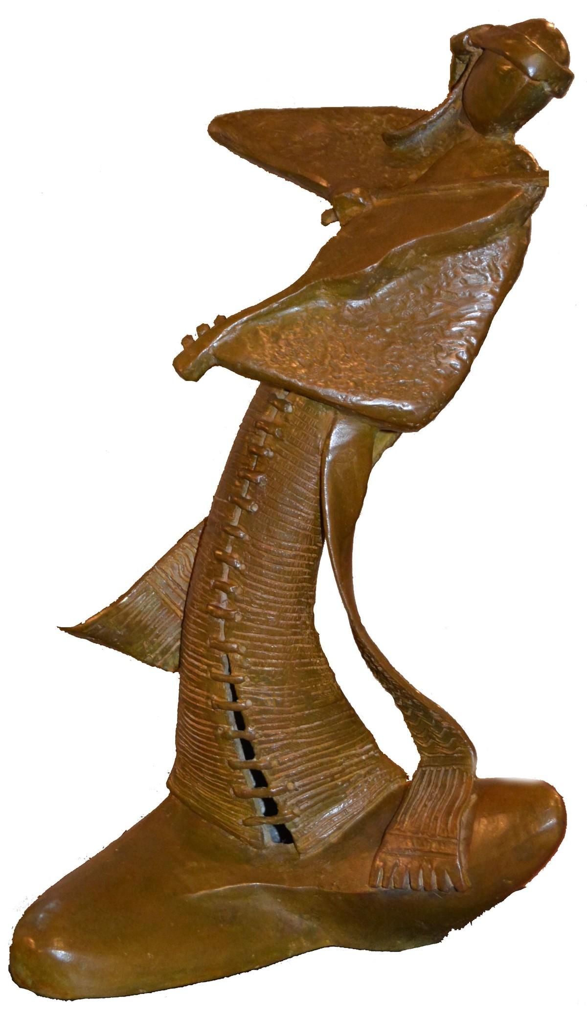 musician by Subrata Paul, Art Deco Sculpture | 3D, Bronze, White color