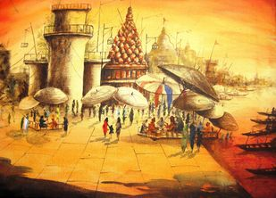 The Vibrant Ghats of Varanasi by Anirban Seth, Impressionism Painting, Acrylic on Canvas, Beige color