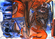 my search and stimulus by selva senthil kumar, Expressionism Painting, Watercolor on Paper, Brown color