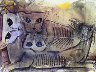 cats by selva senthil kumar, Expressionism Painting, Watercolor on Paper, Brown color