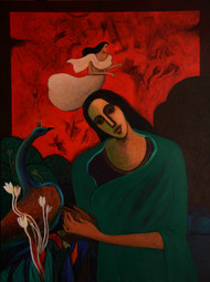Messenger Bird by Jagadish Dey, Expressionism Painting, Acrylic on Canvas, Brown color