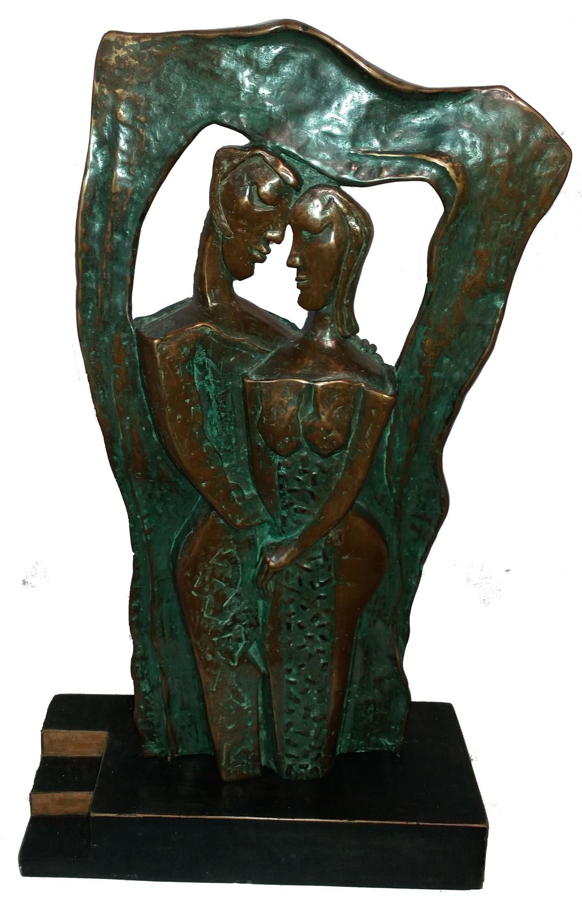 Untitled by L.S. Rana, Art Deco Sculpture | 3D, Bronze, Green color