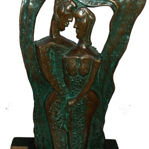 Untitled by L.S. Rana, Art Deco Sculpture | 3D, Bronze, Green color