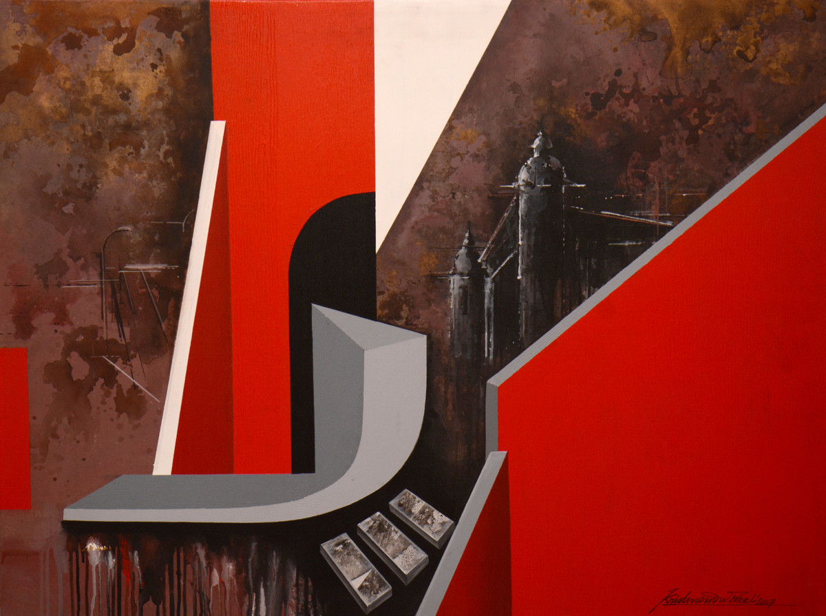 Untitled by Krishnendu Porel, Geometrical Painting, Acrylic on Canvas, Brown color