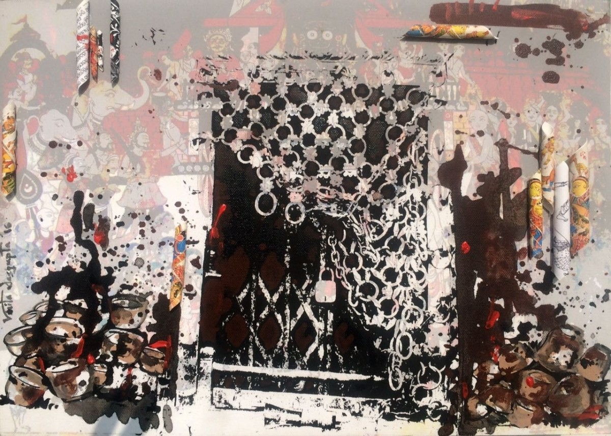 Storyteller- Nepal Revisited by Vinita Dasgupta, Pop Art Painting, Mixed Media on Cloth, Brown color