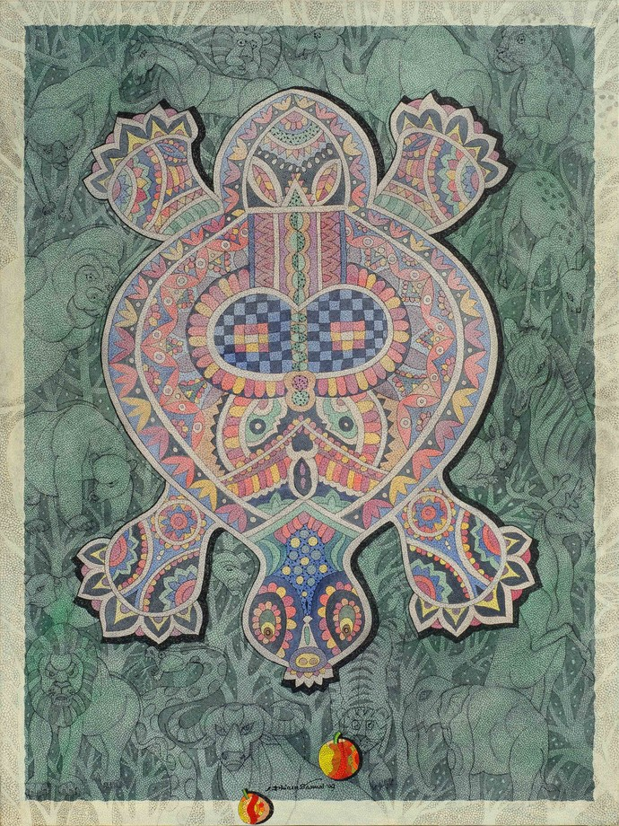 Tortoise Mosaic by Dhiren Sasmal, Expressionism Painting, Acrylic & Ink on Canvas, Gray color