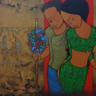 STREET ART by Hitendra Singh Bhati, Expressionism Painting, Acrylic on Canvas, Brown color