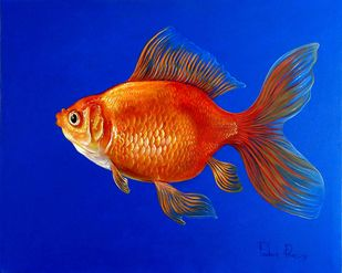 Fish 1 by Prakash Pore, Realism Painting, Acrylic on Canvas, Blue color