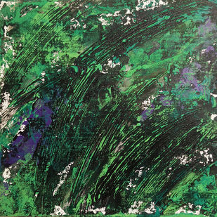 Untitled by Saravana Kumar, Abstract Painting, Mixed Media on Canvas, Green color