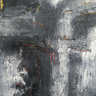 Untitled by Saravana Kumar, Abstract Painting, Mixed Media on Canvas, Gray color