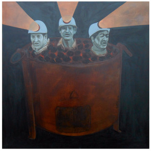 The Burning Work by SUDHIR V BAGDE, Expressionism Painting, Oil on Canvas, Brown color