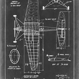Aeronautic Blueprint IV Digital Print by Vision Studio,Art Deco