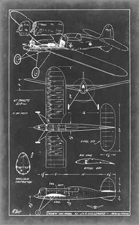 Aeronautic Blueprint II Digital Print by Vision Studio,Art Deco