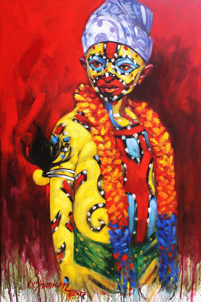 tigear boy by K V Shankar, Expressionism Painting, Acrylic on Canvas, Brown color