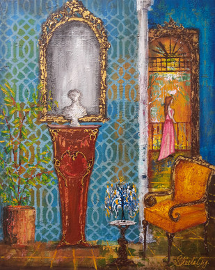 Baroque 24 by Sheetal Singh, Art Deco Painting, Acrylic on Canvas, Brown color