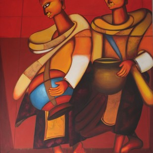 bhikshu1 by Vineeta Vadhera, Expressionism Painting, Acrylic on Canvas, Brown color