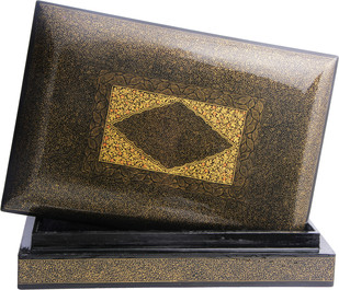 Black & Gold box by Hands of Gold, Traditional Decorative Box, Plywood, Brown color