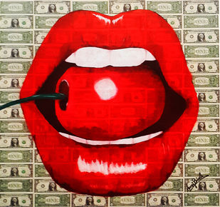 POP THE MONEY CHERRY ( Real Dollar Art) by Sanuj Birla, Pop Art Painting, Acrylic on Canvas, Red color