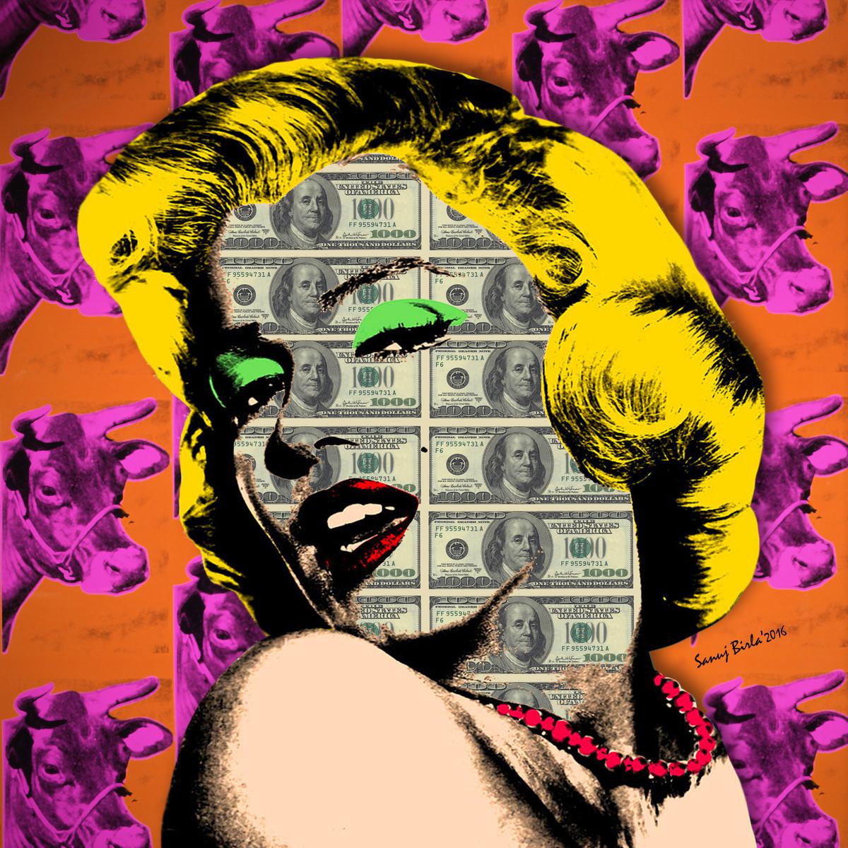 WARHOL'S MONROE by Sanuj Birla, Pop Art Digital Art, Digital Print on Canvas, Brown color